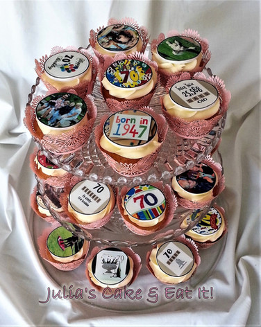 Vanilla cupcakes with vanilla buttercream and personalised edible prints for a 70th birthday