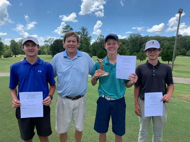 L to R: Boys B 14-15 | Connor Gee (1st), Gregory Brooking (Natchez Golf Club Pro) Will Burnham (2nd) (2018 Norman Puckett Jr Champion) & Landon Germany (3rd) — at Natchez Golf Club.