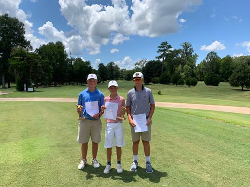 L to R: Boys C 12-13 | Will Thompson (1st), Grayson Davis (2nd) & Grayson Lockhart — at Natchez Golf Club.