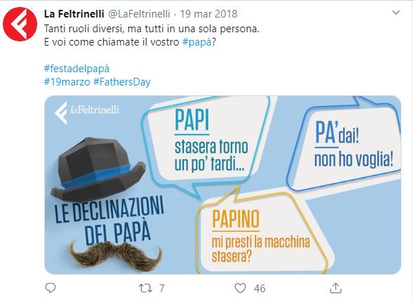 La Feltrinelli su Twitter per la festa del papà 2018