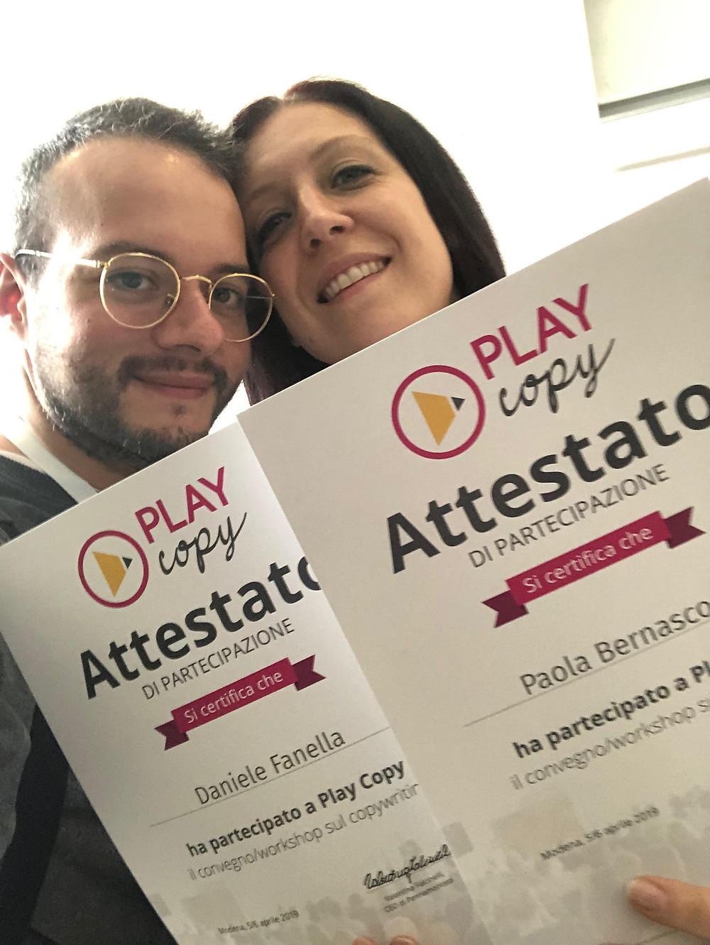 Play Copy 2019: gli attestati per la Pesce