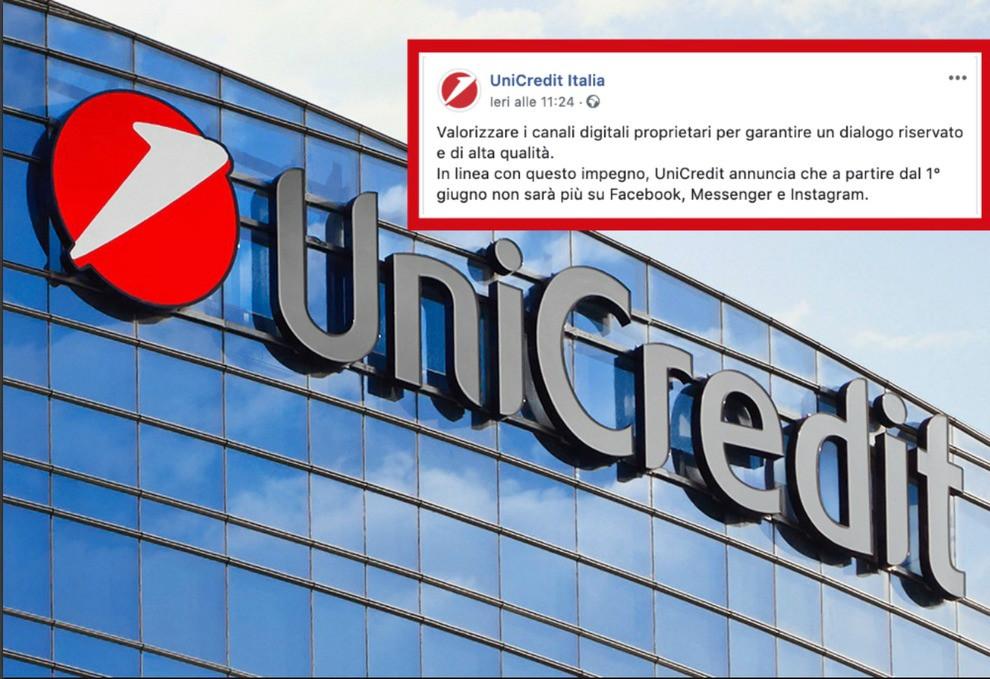 L'annuncio di Unicredit su Facebook