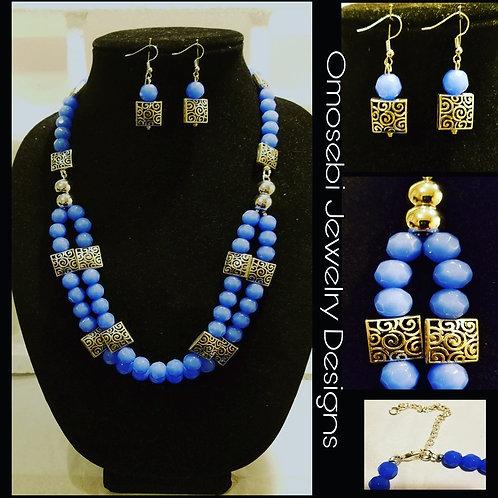 Cornflower Blue Necklace & Earring Set