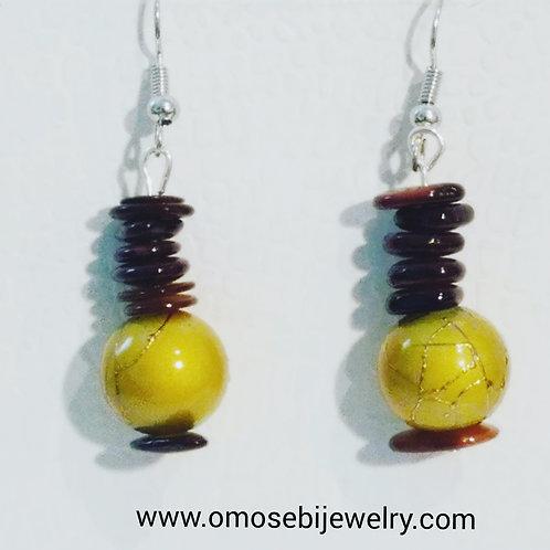 Mustard Ethnic Design Earrings