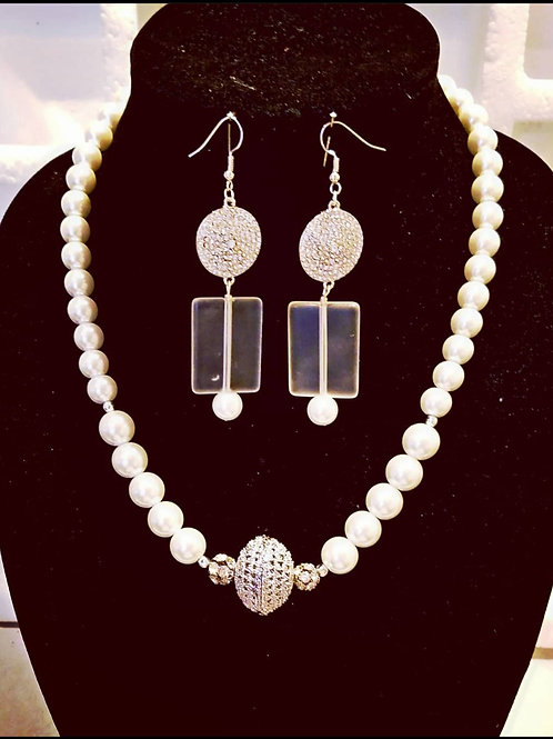 Glass Pearl Rhinestone Pendant Necklace and Earrings