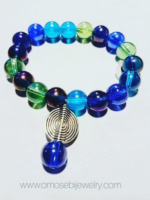 Multicolored Glass Marble Charm Bracelet