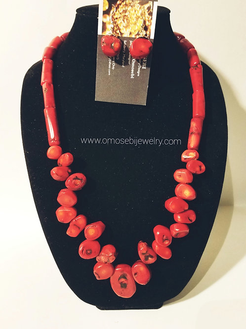 Genuine Red Dyed Bamboo & Coral Bead Necklace and Earring Set
