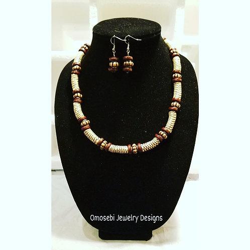 """Abound"" Genuine Ghanaian Krobo Bead Nkl and Earring Set"