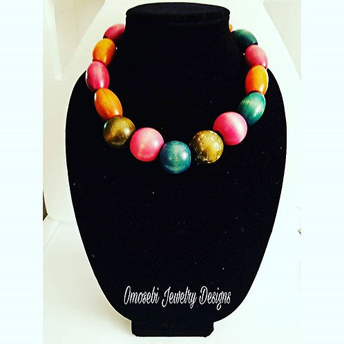 Multi-colored Wood Necklace