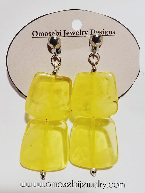 Yellow Acrylic Clip On Earrings