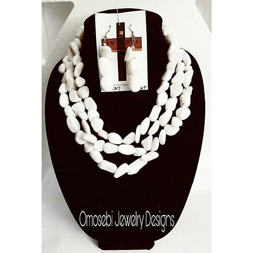 White Stone Tri-Layer Necklace & Earring Set