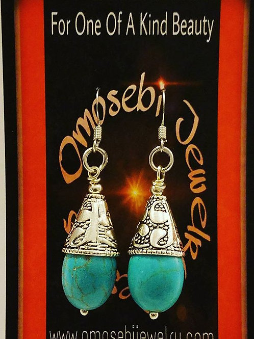 Turquoise Bead w/Sterling End Cap Earrings