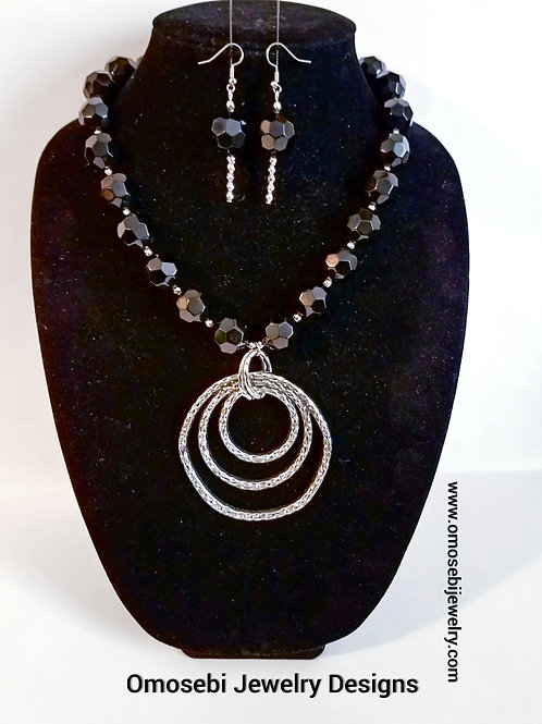 """Hammered"" Necklace & Earring Set"