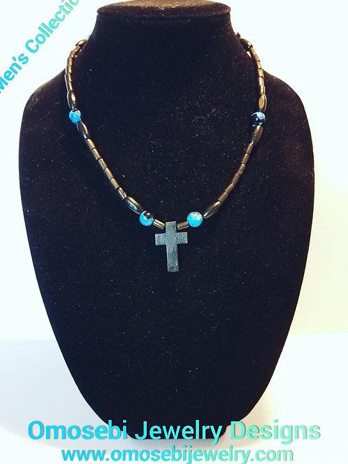 Men's Wood Cross & Bead Necklace