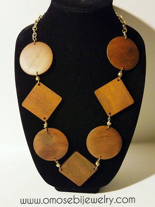 """Shapes"" Wood Lengthy Necklace"