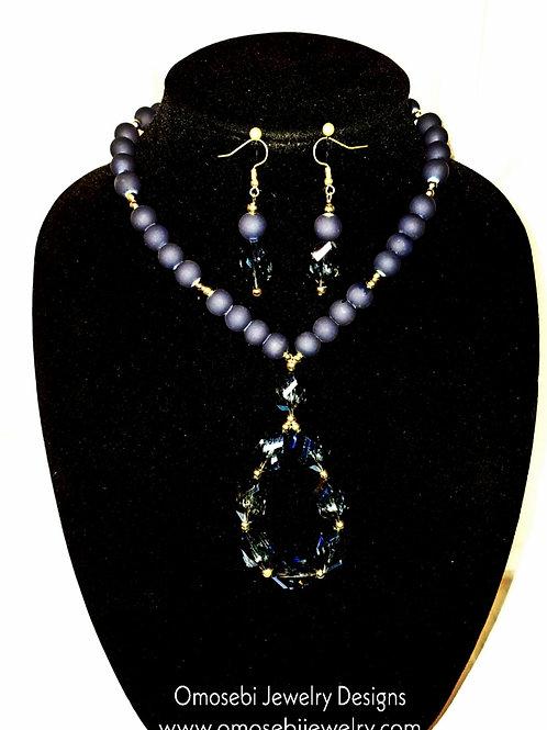 """""""Destiny"""" Deep Bleu Necklace & Earring Set"""