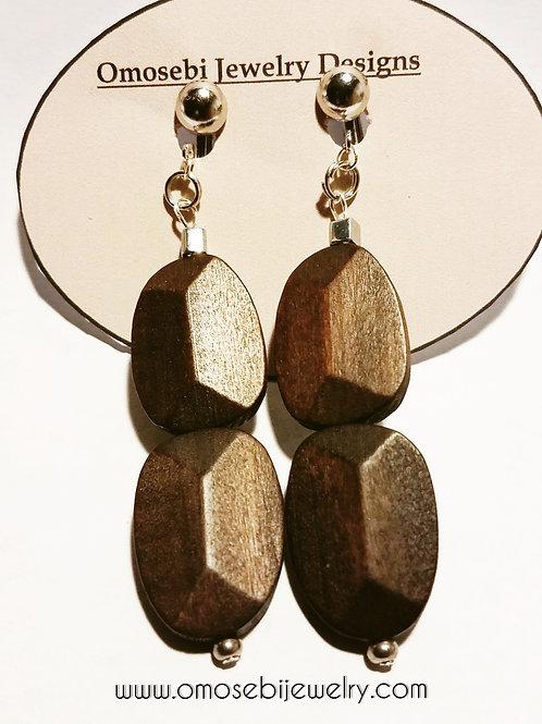 Brown Wood Clip On Earrings