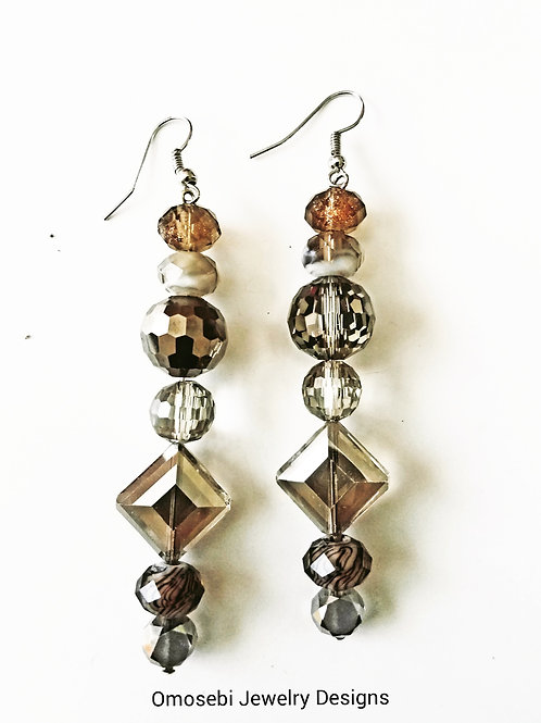 Gray, Brown, Clear Glass Bead Earring