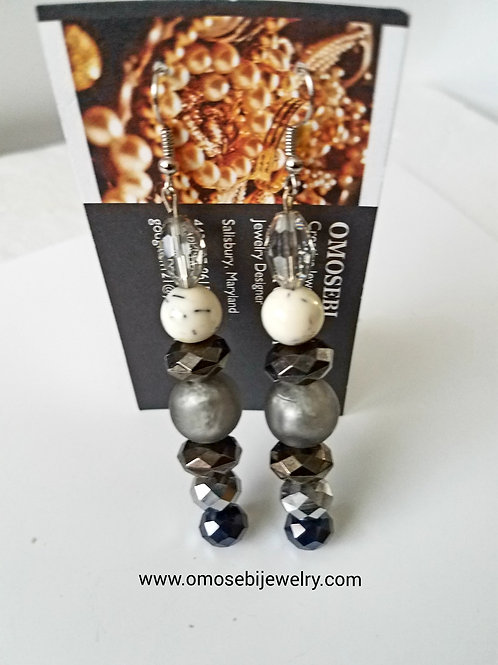 Silver Black Cream Glass Bead Earrings