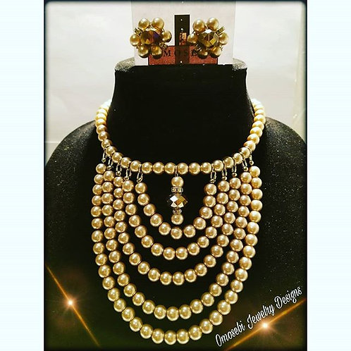 """Blessed w/Abundance"" Faux Pearl Necklace & Earring Set"