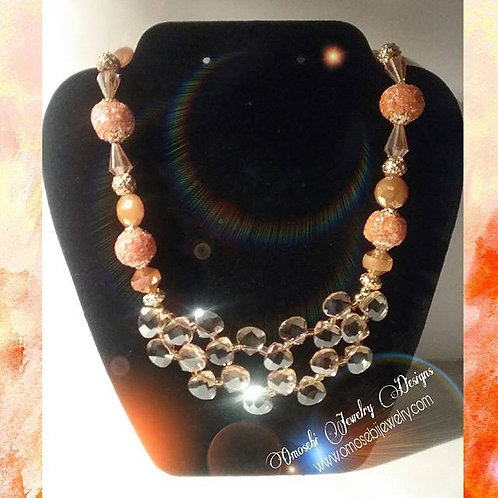 Double Layer Crystal & Glass Bead Necklace