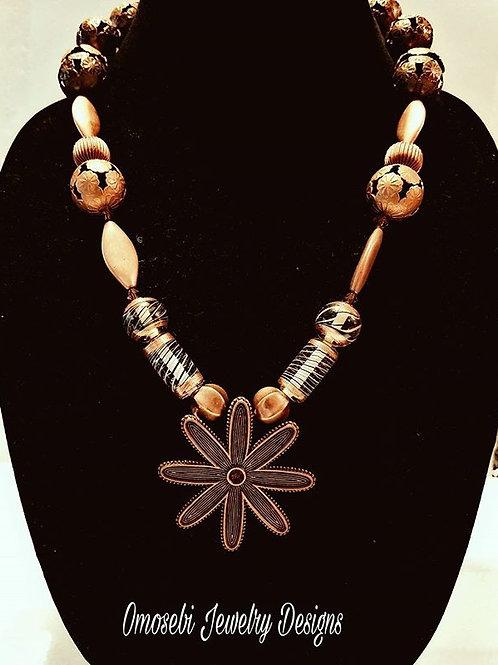 Copper Pendant Necklace & Earring Set