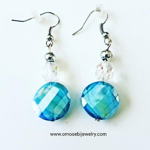 Blue Fire Polished & Clear Glass Bead Earrings
