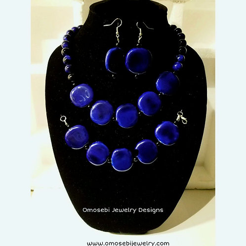 """Addie"" Blue Ceramic 3 pc Necklace Set"