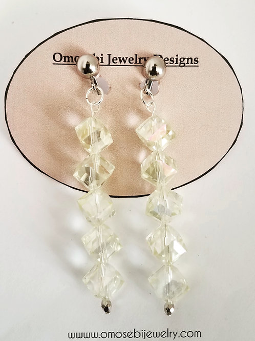 Ivory Tinted Crystal Clip On Earrings