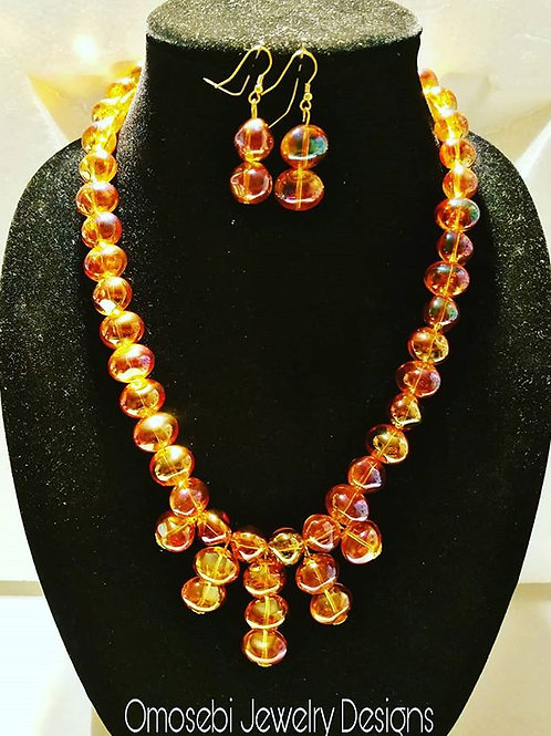 Amber Marble Shape Glass Necklace & Earrings
