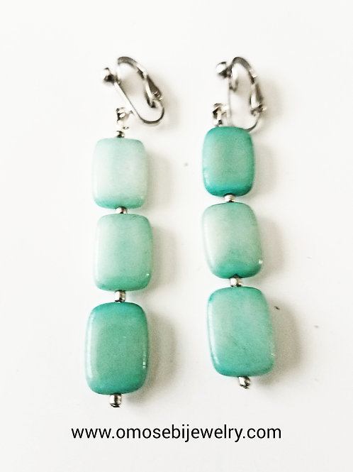 Sea Green Square Clip On Earrings