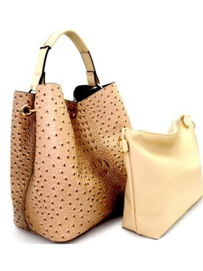 Taupe Ostrich Hobo Handbag