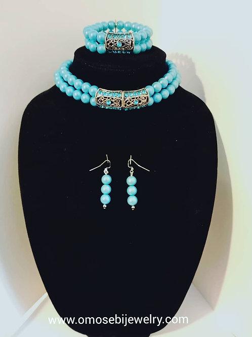 """Tiffany"" 3pc Choker Necklace, Bracelet & Earring Set"