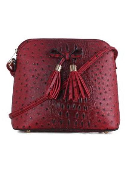 Red Faux Ostrich Vegan Handbag