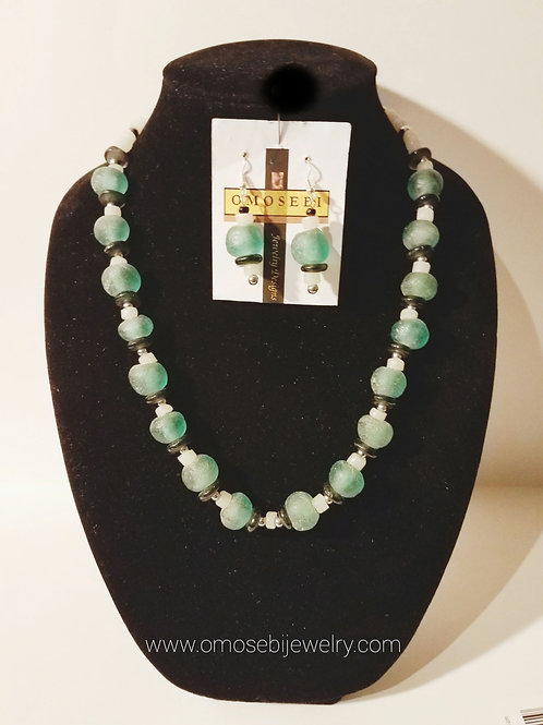 Authentic Ghanian Recycled Bead Necklace and Earring Set