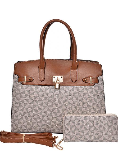 Tan Multicolored Handbag w/Wallet