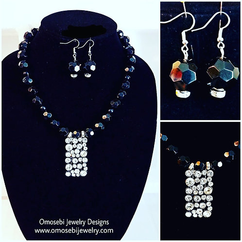 """Black Dynasty"" Necklace & Earring Set"