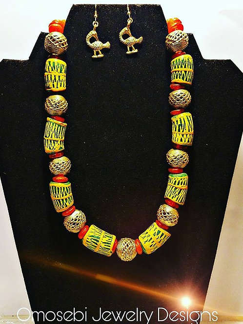 Geniune Ghanian Krobo Bead Necklace & Earring Set