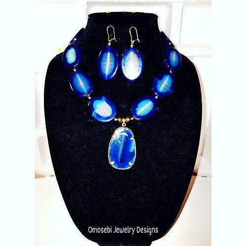 """Placid"" Agate Pendant Necklace & Earring Set"