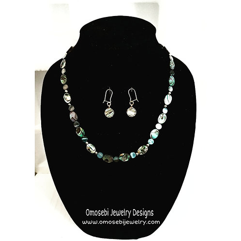Abalone Shell Oval Bead Necklace and Earring Set