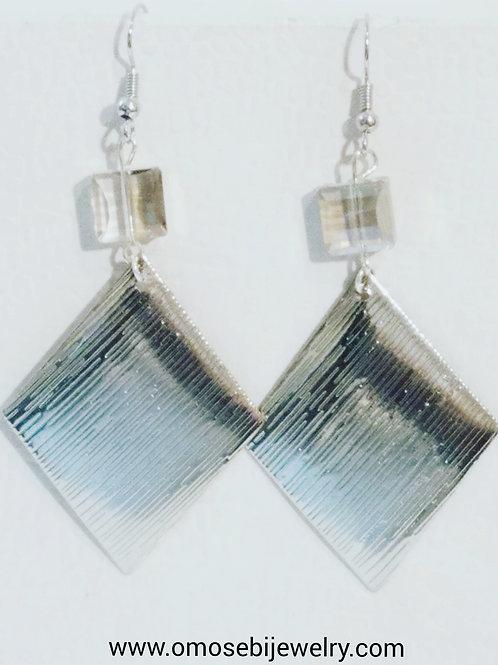 Silver Metal & Glass Bead Earrings