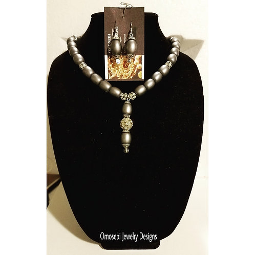 """Prudence"" Gray & Rhinestone Neck & Earrings Set"