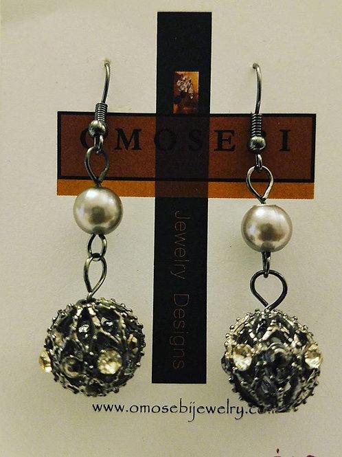 Gunmetal Rhinestone Earrings