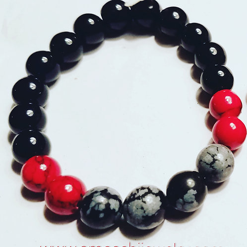 Unisex Glass Bead Stretch Bracelet