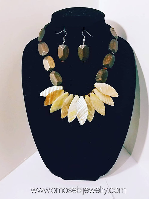"""""""Ethnicity"""" Natural Shell & Stained Wood Bead Necklace and Earring Set"""