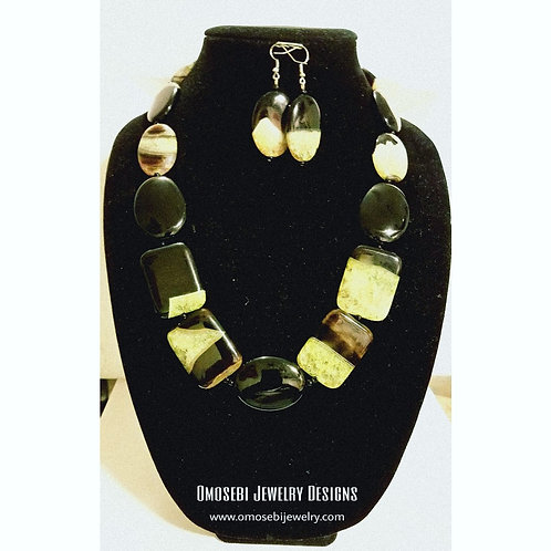 """Grace"" Black Onyx and Green Agate Stone Neclace & Earring Set"