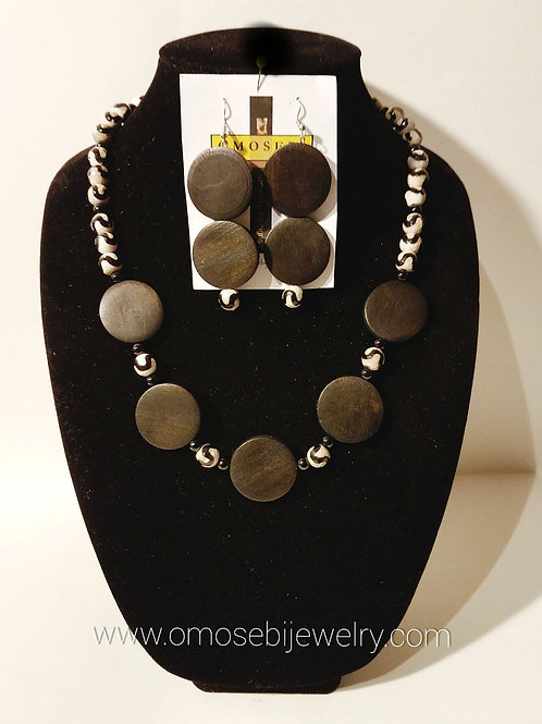 Authentic Batik Bone Bead Necklace & Earring Set