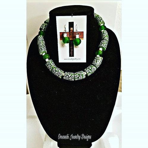 Authentic Ghanian Krobo Bead Necklace & Earring Set