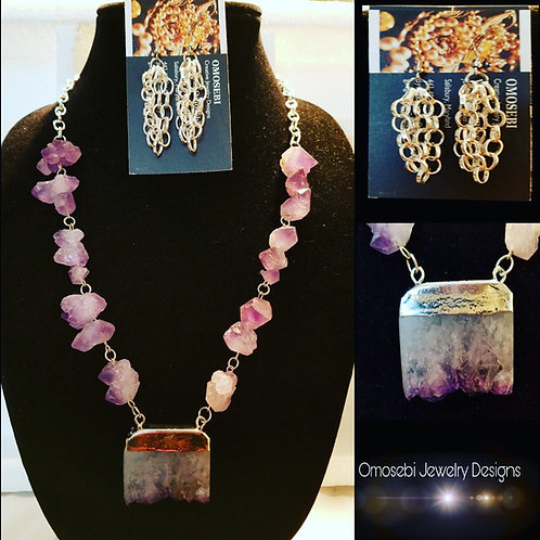 Genuine Purple Pierre Veritable Pendant Necklace  w/Silver Chain E