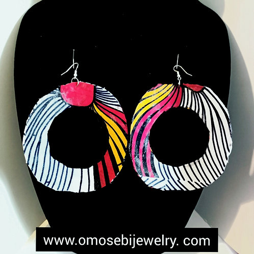 African Wax Fabric Donut Style Earrings